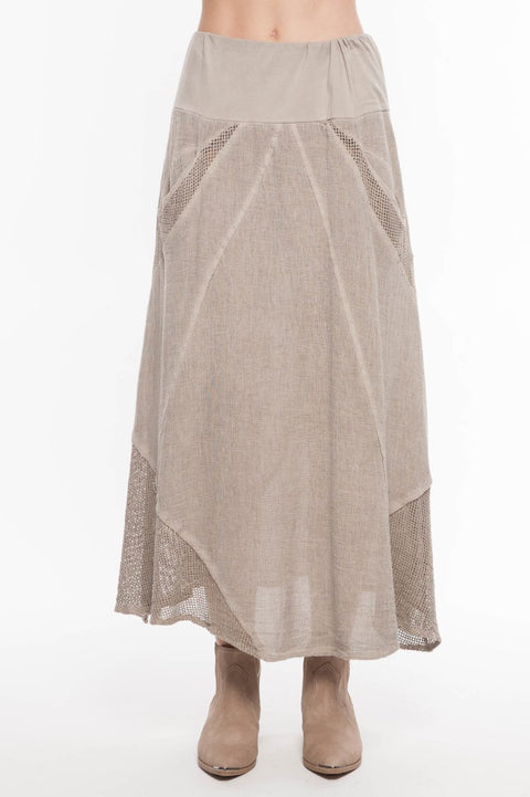 European Linen Blend Mixed Media Skirt - Breathable Naturals | Glam & Fame Clothing