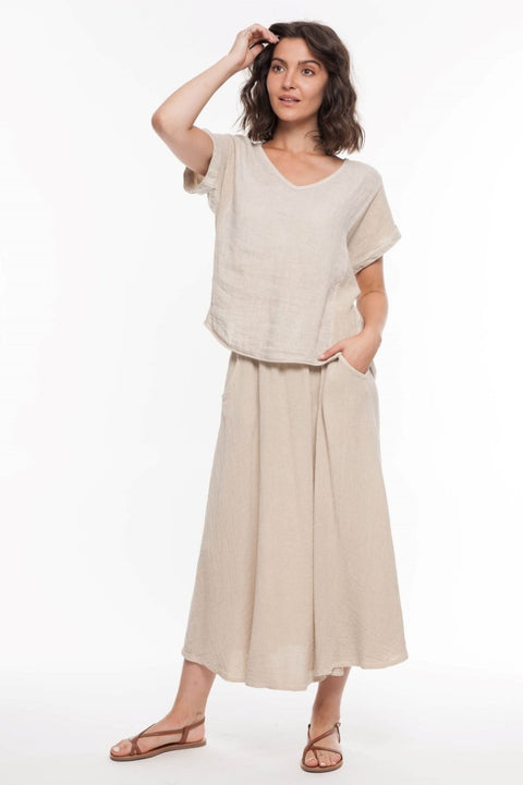 European Linen Blend Mixed Media Top - Breathable Naturals | Glam & Fame Clothing