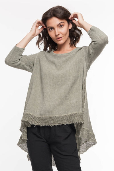 European Linen Blend Mixed Media Tunic - Breathable Naturals | Glam & Fame Clothing
