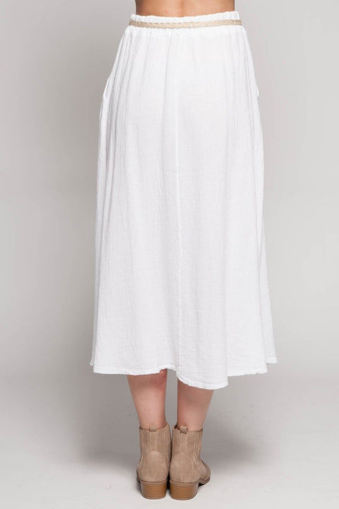 European Linen Blend Skirt with Tie - Breathable Naturals | Glam & Fame Clothing