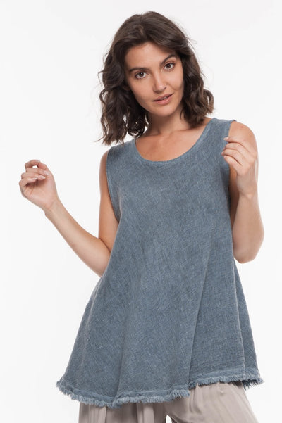 European Linen Blend Sleeveless Top - Breathable Naturals | Glam & Fame Clothing