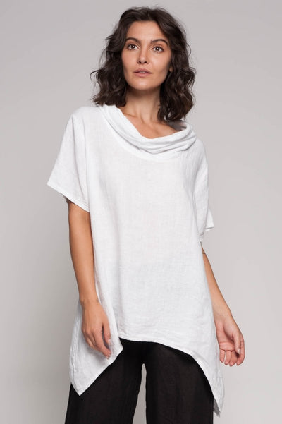 European Linen Cowl Neck Top - Breathable Naturals | Glam & Fame Clothing
