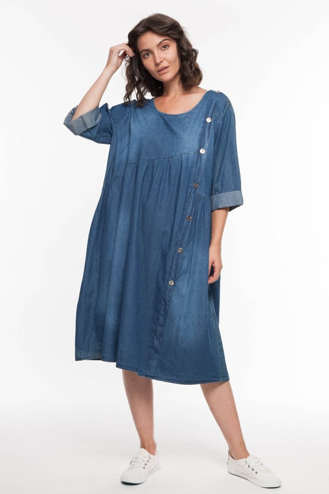European Linen Denim Midi Dress - Breathable Naturals | Glam & Fame Clothing