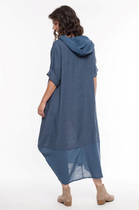 European Linen Dress Cowl Neck - Breathable Naturals | Glam & Fame Clothing
