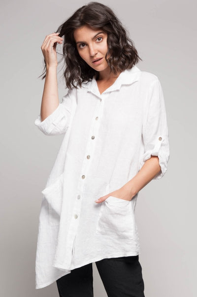 European Asymmetric Linen Shirt- Breathable Naturals | Glam & Fame Clothing
