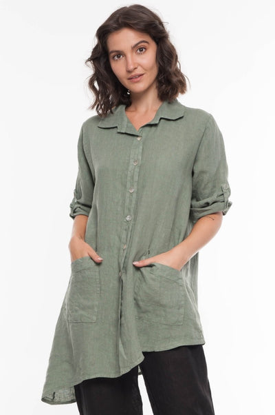 European Asymmetric Linen Shirt - Breathable Naturals | Glam & Fame Clothing