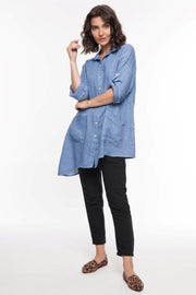 European Linen Flare Shirt - Breathable Naturals | Glam & Fame Clothing