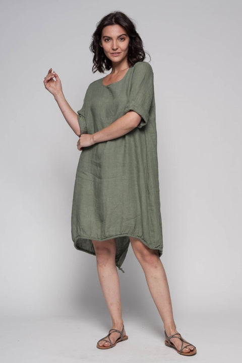 European Linen Midi Dress - Breathable Naturals | Glam & Fame Clothing
