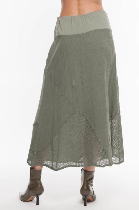European Linen Mixed Media Skirt - Breathable Naturals | Glam & Fame Clothing