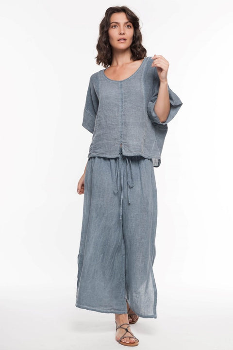 European Linen Mixed Media Top - Breathable Naturals | Glam & Fame Clothing