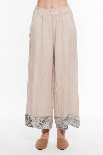 European Linen Pant with Printed Hem - Breathable Naturals | Glam & Fame Clothing