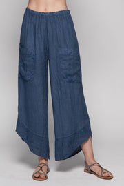 European Linen Pants with Embroidery Pockets - Breathable Naturals | Glam & Fame Clothing