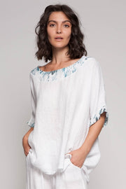 European Linen Printed Collar Top - Breathable Naturals | Glam & Fame Clothing