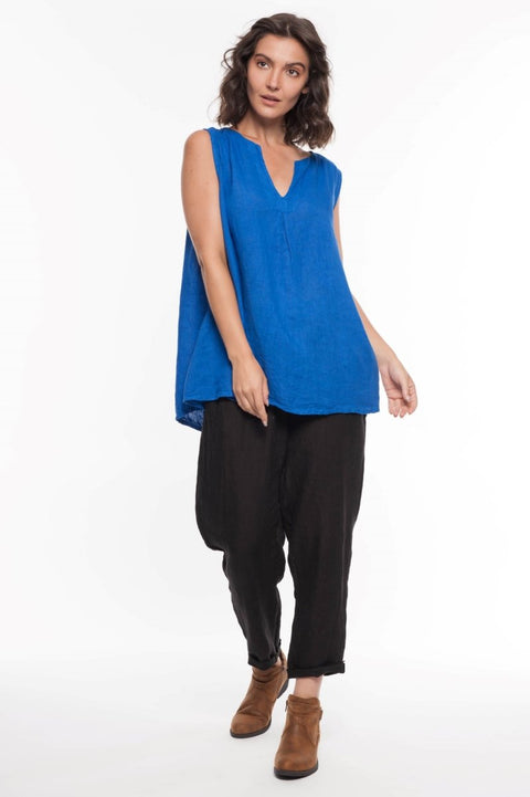 European Linen Sleeveless Top - Breathable Naturals | Glam & Fame Clothing