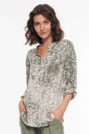 European Sequin Floral Shirt - Breathable Naturals | Glam & Fame Clothing