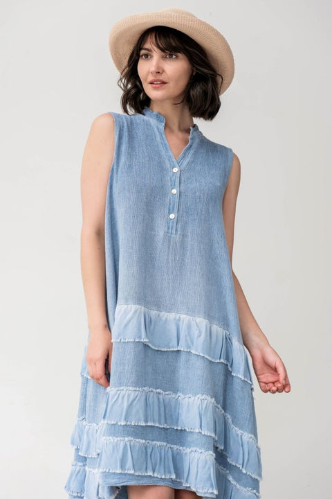 European Mixed Media Linen Dress - Breathable Naturals | Glam & Fame Clothing