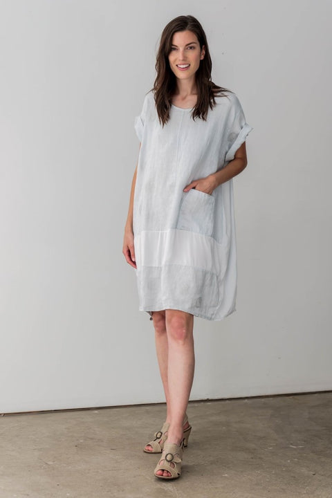 Exclusive Made in Italy Linen Blend Tunic Dress with Silver Spots - Breathable Naturals | Glam & Fame Clothing