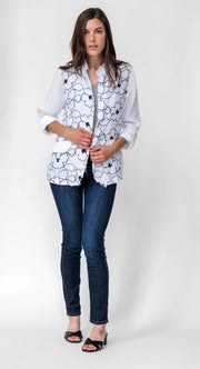 Exclusive Made in Italy Linen Fringe Jacket with Floral Embroidery - Breathable Naturals | Glam & Fame Clothing