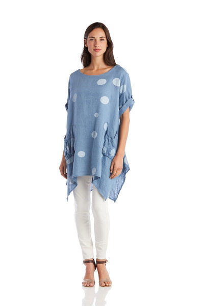 Exclusive Made in Italy Linen Tunic with Polka Dots - Breathable Naturals | Glam & Fame Clothing