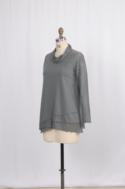 Cotton Mesh Knit Cowl Top - Glam & Fame | Breathable Naturals