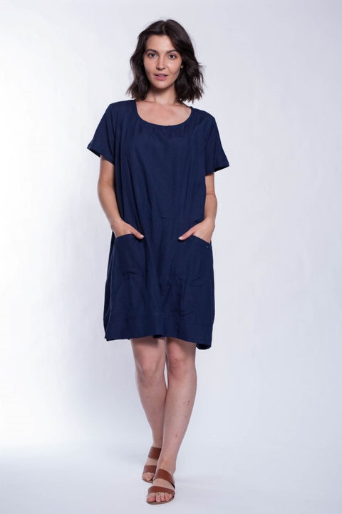 Flex Shift Dress With Pockets - Breathable Naturals | Glam & Fame Clothing