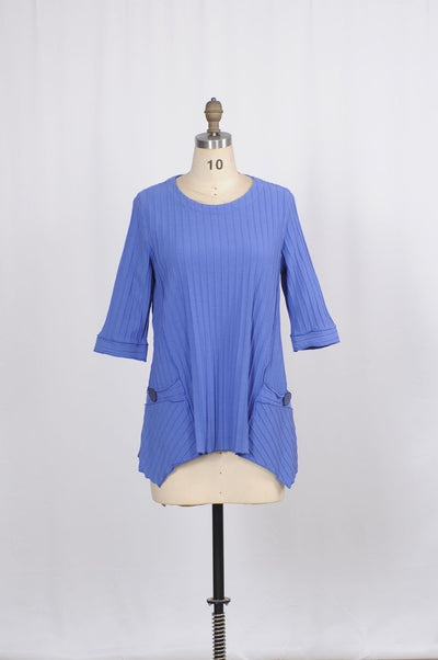 Premium Washed Cotton Pinstripe Jacquard Tunic with Coconut Shell Pockets - Glam & Fame | Breathable Naturals