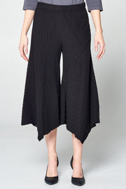 Premium Washed Cotton Pinstripe Jacquard Gaucho Pants - Glam & Fame | Breathable Naturals