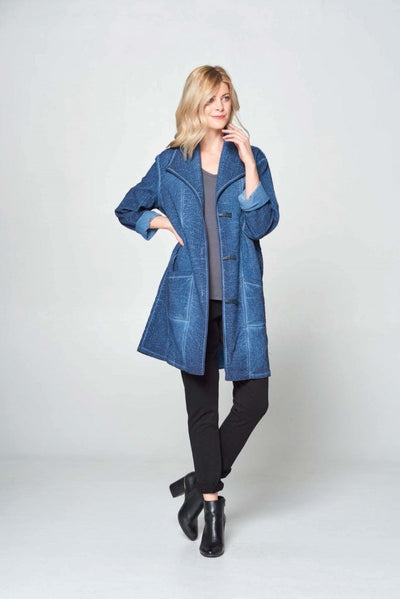 Long Cotton Denim Jacquard Coat - Glam & Fame | Breathable Naturals