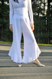 Premium Washed Waffle Weave Cotton Pants with Frill - Glam & Fame | Breathable Naturals