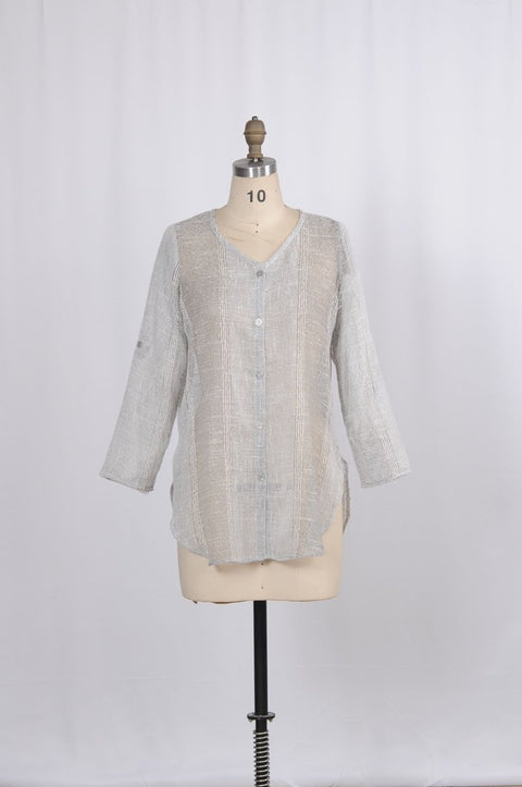 Textured Button Up Shirt - Glam & Fame | Breathable Naturals