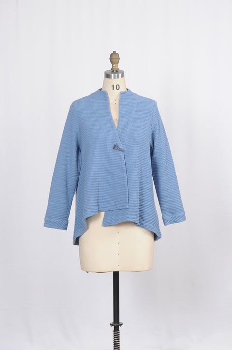 Premium Washed Waffle Weave Cotton Swing Jacket - Glam & Fame | Breathable Naturals