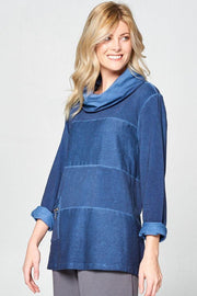 Premium Washed Terry Cotton Panel Cowl Top - Glam & Fame | Breathable Naturals