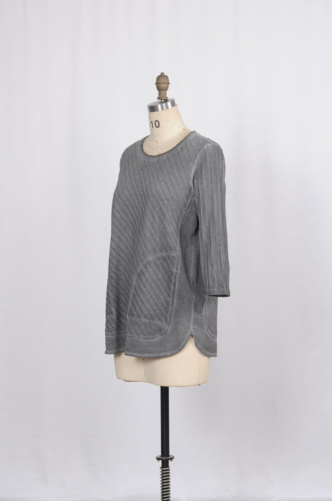Premium Washed Cotton Pinstripe Jacquard Top with Side Pockets - Glam & Fame | Breathable Naturals
