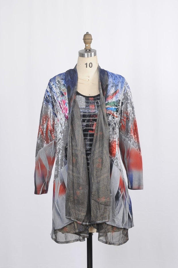 Funsport Duster L/Slv 2 PC Multi Mixed Media - Glam & Fame | Luxury Boutique