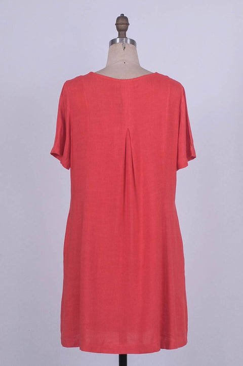 G&F Alia Cotton Blend Tunic Dress in Coral - Glam & Fame | Breathable Naturals
