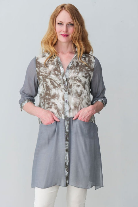 G&F Alyssa Cotton Blend Tunic Shirt - Breathable Naturals | Glam & Fame Clothing