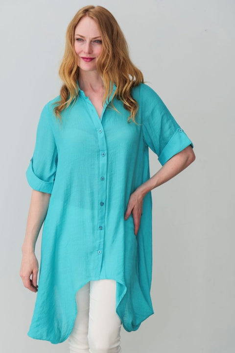 G&F Amelia Cotton Blend Tunic Shirt - Breathable Naturals | Glam & Fame Clothing