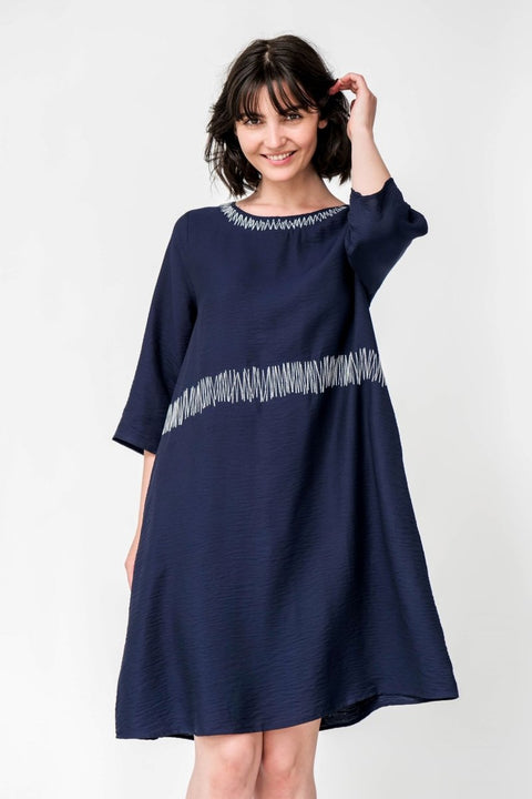 G&F Anastasia Dress with Embroidery - Breathable Naturals | Glam & Fame Clothing
