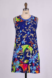 G&F Andra Cotton Blend Summer Dress in Navy Floral - Glam & Fame | Breathable Naturals