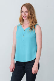G&F Cassidy Button Blouse Cami - Breathable Naturals | Glam & Fame Clothing