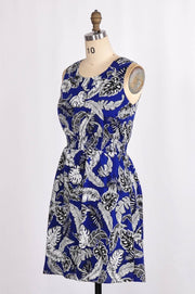 G&F Cora Summer Dress in Cobalt Feather Print - Glam & Fame | Breathable Naturals