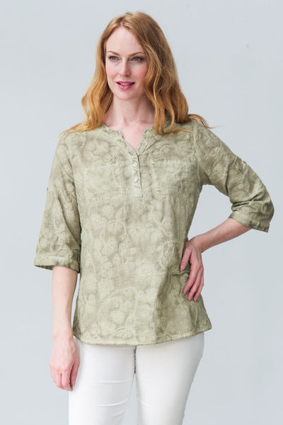 G&F Cotton Tamara Shirt in Floral Embroidery - Breathable Naturals | Glam & Fame Clothing