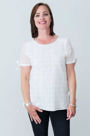 G&F Cotton Tracy Top with Tie Sleeves - Breathable Naturals | Glam & Fame Clothing