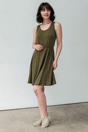 G&F Daisy Jersey Knit Dress with Cross Tie - Breathable Naturals | Glam & Fame Clothing