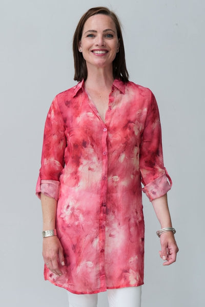 G&F Eve Shirt with Marble Dip Dye Print - Breathable Naturals | Glam & Fame Clothing