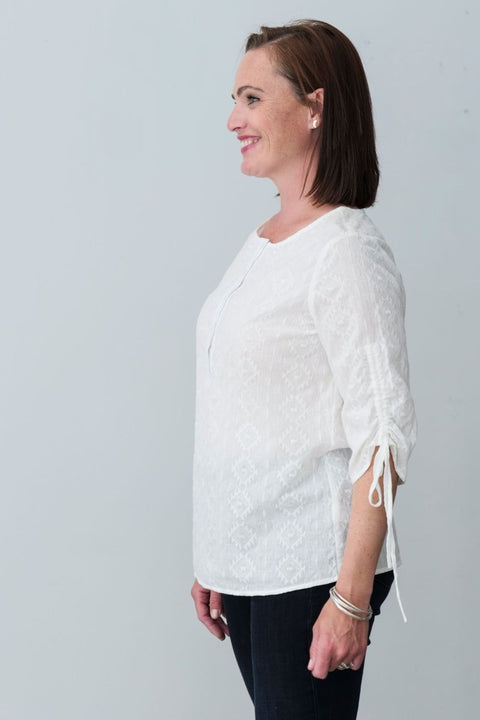 G&F Evie Cotton Jacquard Weave Top with Tie Sleeves - Breathable Naturals | Glam & Fame Clothing