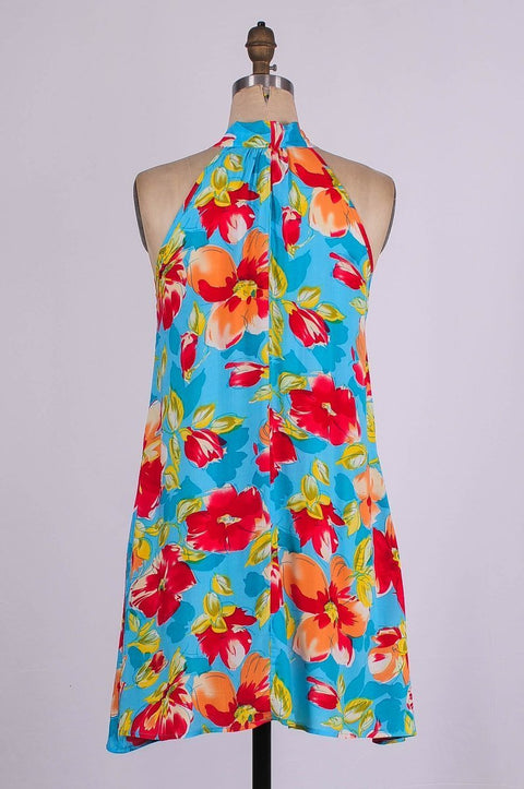 G&F Hazel Cotton Blend Swing Dress in Turquoise Red Flower - Glam & Fame | Breathable Naturals