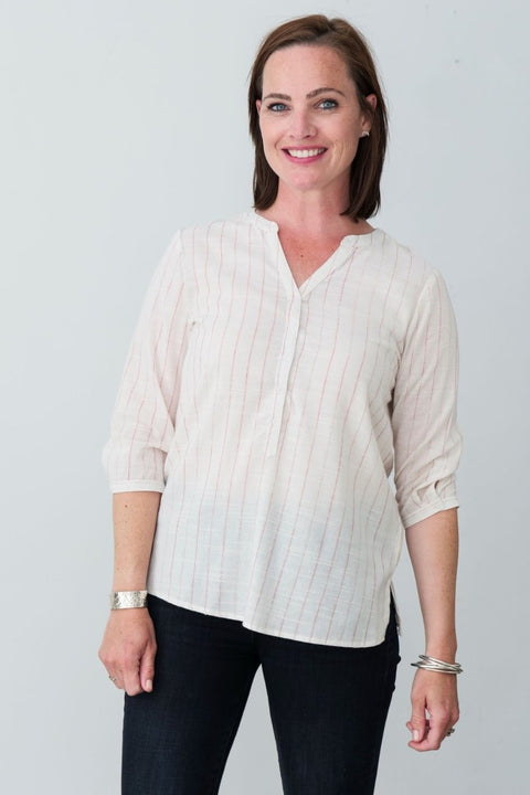 Henley Cotton Blend Shirt - Breathable Naturals | Glam & Fame Clothing