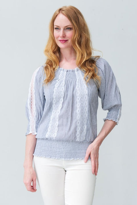 G&F Illa Cotton and Lace Top - Breathable Naturals | Glam & Fame Clothing