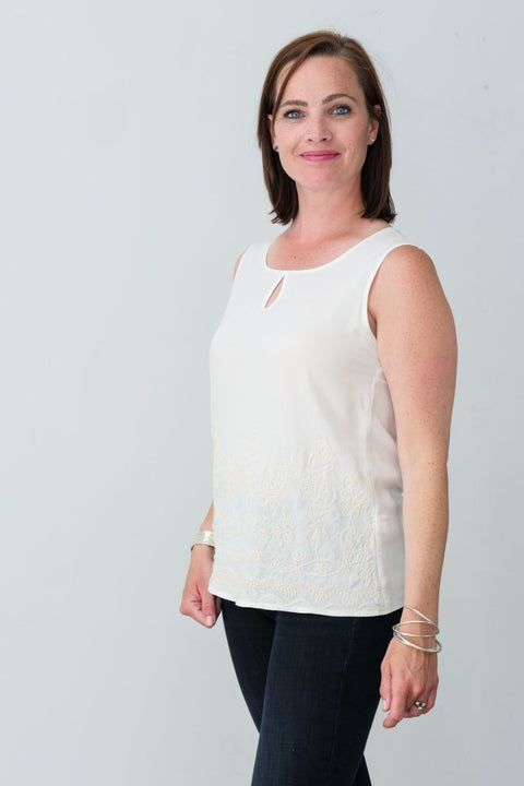 G&F Jordan Cotton Blend Top with Embroidery - Breathable Naturals | Glam & Fame Clothing